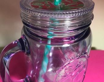 SALE Mermaid Mason Jar Mug w/ Lilly Pulitzer Vinyl accented Lid and optional monogram  -  LARGE 20oz Insulated mug & a reusable Straw