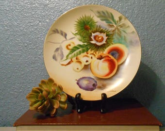 Exotic fruit painted china plate, Asian painted plate, Still life, Fruit and vegetables, Kitchen decor, Vintage decor