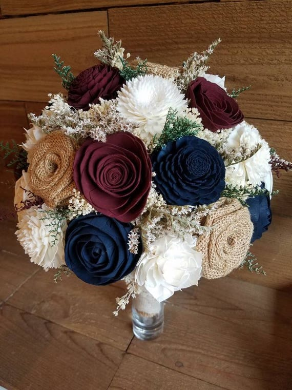 Custom Burgundy and Navy Sola Wood Flower and Burlap Rose Bouquet ...