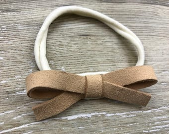 Tan Thicker Suede Bow, Headband, Baby Headband