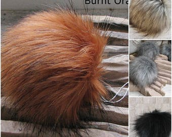Burnt Orange Fox Faux Fur Pom Pom, Faux Fur Pompoms. Faux Fur. Fur Pompoms. Fur Pom Pom. Pompoms Faux Detachable Bright