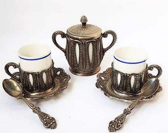 SALE Italian Espresso Coffee Serving Set ,Silver Plated Coffee Serving Set ,Vintage Italian espresso cups set,retrò tableware.