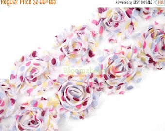 """Summer SALE 10% OFF 2.5"""" PRINTED Shabby Rose Trim- Berry Party Dot - Chiffon Trim - Printed Shabby Rose Trim  - Hair Accessories Supplies"""