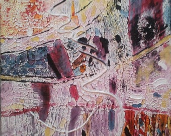 """Provisional booking square abstract painting 50 / 50cm 'p' rewards"""