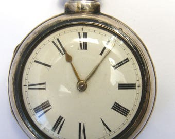 Antique-Victorian-Solid Sterling SIlver Pair Cased Verge Fusee Pocket Watch-London-circa 1849