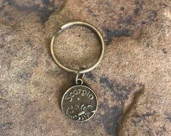 Scorpio Zodiac small bronze keychain gifts under 5