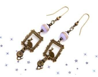 Earring glass Lampwork bead Alice rabbit frame shown