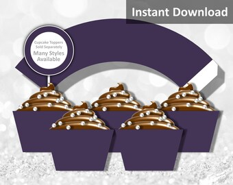 Solid Dark Purple Cupcake Wrapper Instant Download, Party Decorations