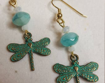 Patina Dragonfly and Polished Gemstone Earrings