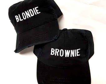 Blondie and Brownie Dad Distressed Hat Black and White Best Friends Blonde Brunette