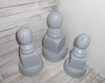 Gray Finials- Large Finial Set- Decorative Finials - 3 Piece Finial Set - Farmhouse Finial Decor -Gray Distressed Finial - Painted Finials