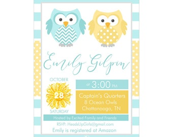 Digital Printable Baby Shower or Birthday Invitation with Nautical Ocean Owl Family in Yellow and Aqua Blue CPP008
