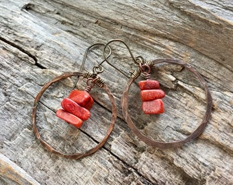 Copper Hoop Earrings with Hanging Red Coral Nuggets