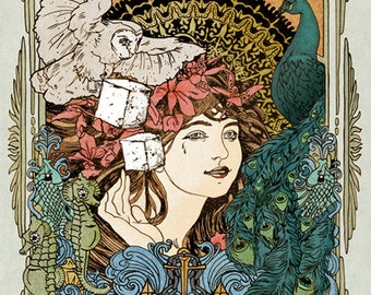 Psychedelic Art Nouveau Poster By Darren Grealish