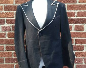 Vintage 1940s Circus Peformer Jacket // Ringmaster Tuxedo with Rhinestone Trim
