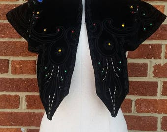 Antique Black Velvet Mourning Caplet // Colored Rhinestones and Embroidery
