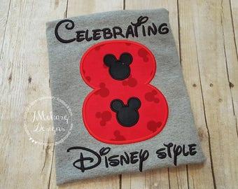 Disney-Inspired Birthday Shirt - 8th - Custom Birthday Tee 802c black red boy