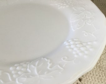 Vintage Indiana Glass luncheon plate, Colony Harvest Grape design, milk glass, salad plate