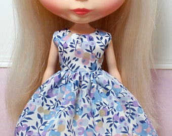 BLYTHE doll Its my party dress - LIBERTY Wiltshire blue berries