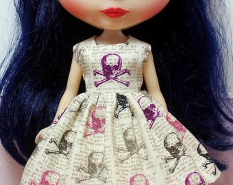 BLYTHE doll Halloween party dress - purple newsprint skulls