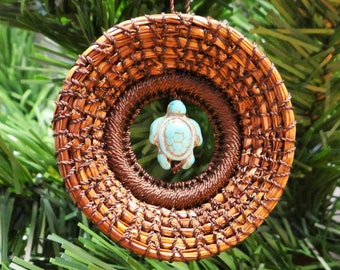 Turtle Ornament Turtle Pine Needle Ornament Brown Pine Needle Ornament Blue Native American Art Turtle Ornament For Teen