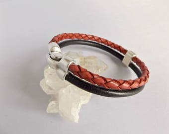Leather jewelry, leather bracelet, leather jewellery, statement jewelry, genuine leather, leather and silver, mens jewelry, mens gift