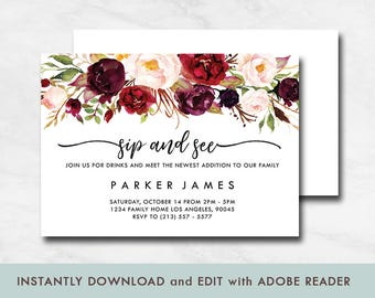 Floral Sip and See Invitation, Rustic Sip and See Invitation, Fall Baby Shower Invitation, Baby Shower invitation printables
