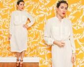 Pinstripe Dress // Ivory Striped Dress // 1980s Long Sleeve Breast Pocket Minimalist Hipster Boho Belted Midi Dress Size Small Medium