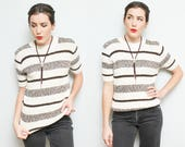 70s Striped Sweater Tee // Ladies Brown White Minimalist Retro Hipster Striped Cozy T-shirt Sears Size Small Medium