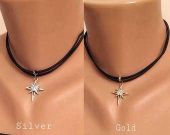 Crystal Dainty Choker Necklace, Suede Leather Necklace , Black  Jewelry, Star Necklace, Gift for Her, Valentines Gift, Star Stud Pendant