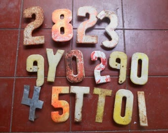 Vintage Metal Letters Numbers Old Marquee Advertising Sign Letters Rusty Metal Chippy Paint Industrial Craft Repurpose Chippy Paint Signage