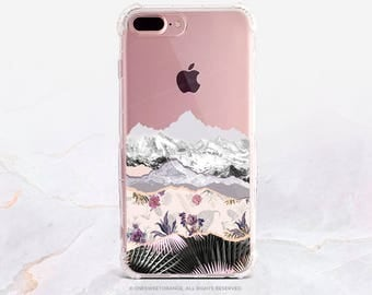 iPhone 7 Case Floral Mountains Clear GRIP Rubber Case iPhone 7 Plus Case iPhone 6 Case iPhone 6S Case iPhone SE Case Samsung S7 Edge U246