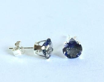 Faceted Iolite Sterling Silver Stud Earrings, Genuine Iolite, September Birthstone, Minimalist Earrings, 6mm Round Cut