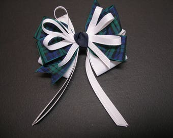 Blackwatch Tartan Plaid White Hair Bow Boutique Streamers Tails Toddler Girl School Uniform