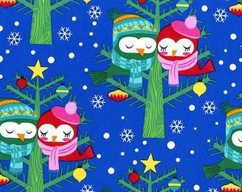 Christmas Fabric - All The Trimmings - Owls In Trees - Choose Royal, Light Blue, or White - Cotton Yardage - Fat Quarter, By The Yard