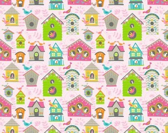 Bird House Fabric/Green, Gray, Blue, Pink Houses/Cotton Sewing Material/Quilting, Cloths, Craft/Fat Quarter, By The Yard, Yardage