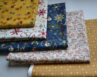 Christmas Fabric Bundle/Snowbound/Snowflakes, Snowmen, Mittens, Gold, Navy Blue/Quilting, Crafts/5 Fat Quarters/Cotton Sewing Material