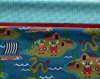 "Pillowcase Kit/Little Viking Fabric/Aqua Hash Tag/Cotton Sewing Material/3/4"" Body Fabric, 2"" Accent Strip, 9"" Cuff/Make Your Own"