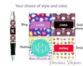 Personalized teenage girl Pens tween girl pens, Emoji pen, hashtag pen, bling pen, skullphone pen, teenage girl gifts