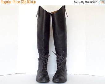 ON SALE Vintage Black Leather Equestrian Boots/ Riding Boots/ Women's Size 5.5