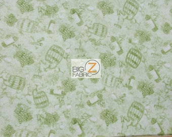 100% Cotton Fabric By South Sea Imports - Country Vineyard Winery - Sold By The Yard (FH-3609) Clothing Decor Accessories Theme