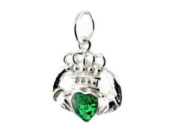 Sterling Silver Green Enamel Irish Claddagh Charm For Bracelets