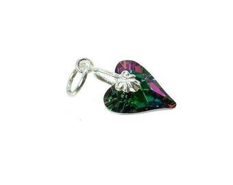Sterling Silver & Swarovski Electra Green Crystal Wild Heart Charm For Bracelets