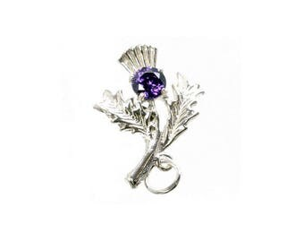 Sterling Silver Lucky Amethyst Set Thistle Charm For Bracelets