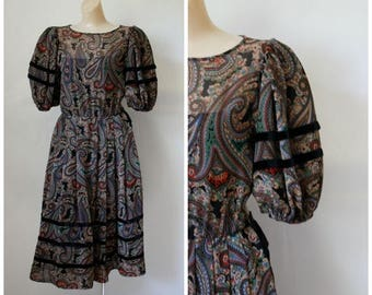 Sale 1970s Albert Nipon Dress / Vintage 70s Fancy Frock / Evening Cocktail Dress / Vintage Nipon Dress / Paisley Party Dress XS