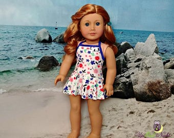 "Flower Swirl Skirted Bathing Suit Swimsuit American Made For Your 18"" Girl Doll"
