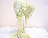 Yellow Organza Easter bonnet-- Vintage style baby bonnet, antique bonnet, infant photo prop, girl shower gift, baby girl hat, newborn bonnet