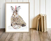 Bunny & cappuccino (Print) Bunny print, Bunny illustration, animal print, Bunny decor, animal decor, Bunny painting, Bunny art