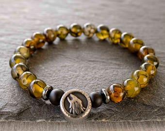 Mens wrist jewelry Mens steel bracelet Wolf bracelet Men beaded bracelet Dragon vein agate bracelet men Meditation beads Wrist mala bracelet