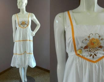 50% Off Closing Shop Sale Vintage 1970's White Orange and Brown Sleeveless Summer Dress / M